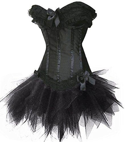 Corsage Kleid Mini Rock Petticoat Tutu CAN CAN schwarz rot Spitze
