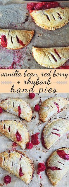 Tart, sweet, adorable little portable hand pies. Filled with rhubarb, raspberries, strawberries, vanilla bean + bright citrus.
