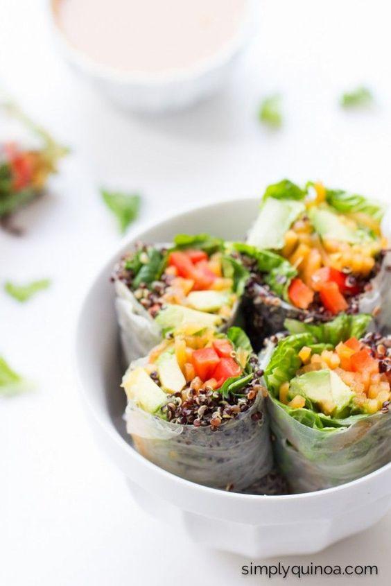 Quinoa Summer Rolls with a Thai Peanut Sauce