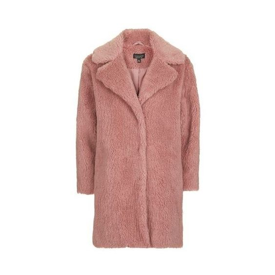 TopShop Pink Casual Faux Fur Coat (6.890 RUB) ❤ liked on Polyvore