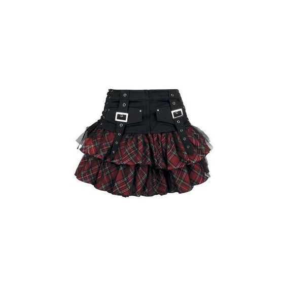 Queen Of Darkness Tartan Skirt [Color black-red] ($70) ❤ liked on Polyvore featuring skirts, mini skirts, saias, bottoms, gonne, embellished skirt, red tartan skirt, faux-leather skirts, plaid skirt and tartan skirt