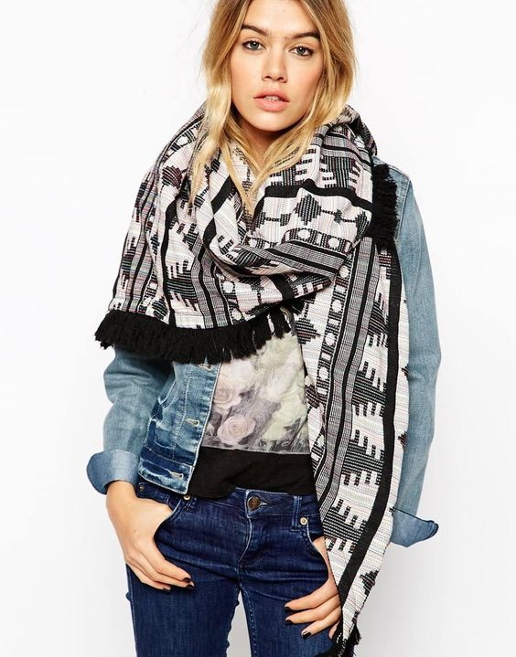 ASOS | ASOS Oversized Triangle Scarf In Black Aztec With Fringing at ASOS: