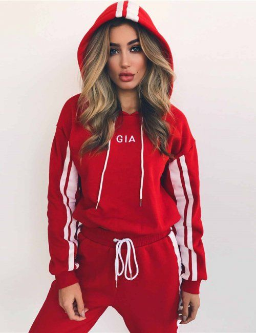 Red and White Hooded Tracksuit | Tops for leggings, Fashion