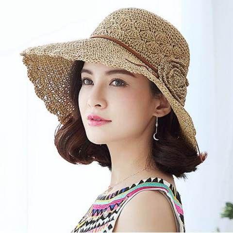 Kadınlar için plaj tığ işi şapka şapka tasarımı için çiçek tığ işi hasır şapka