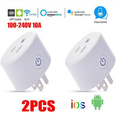 Smart WiFi 10A US Plug Outlet Swtich Work With Echo Alexa Google Home App Remote