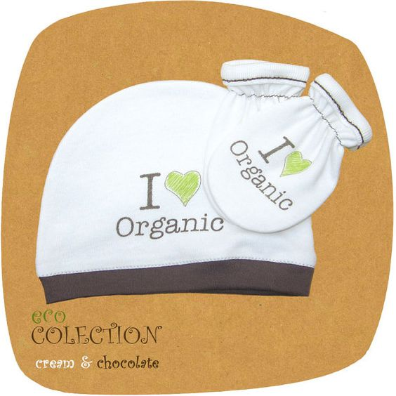 Designer baby SET - Baby Hat + mittens mits 'I love organic', from ORGANIC COTTON