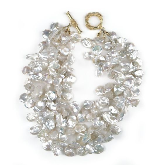 Calliope Pearl Bridal Necklace - Triple-strand white keshi pearls with 24k gold vermeil toggle clasp.