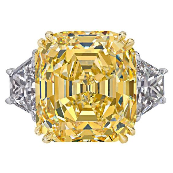 Rare Canary Intense Yellow Emerald Cut Diamond Gold Ring