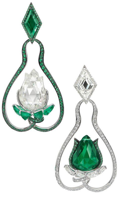 "Boghossian ""Tulip"" earrings with emeralds and diamonds"