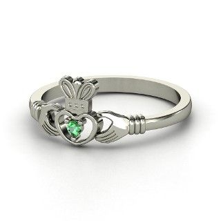 Delicate Claddagh Ring with an emerald from Gemvara. Put your birthstone in it! the-luck-of-the-irish