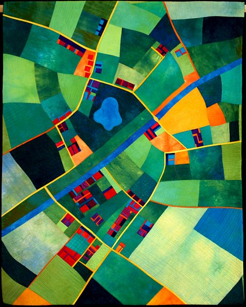 """Love this. it's like the airplane view from Schipol. so Dutch. """" Canal Country - contemporary quilt by Alice Merrett"""""""