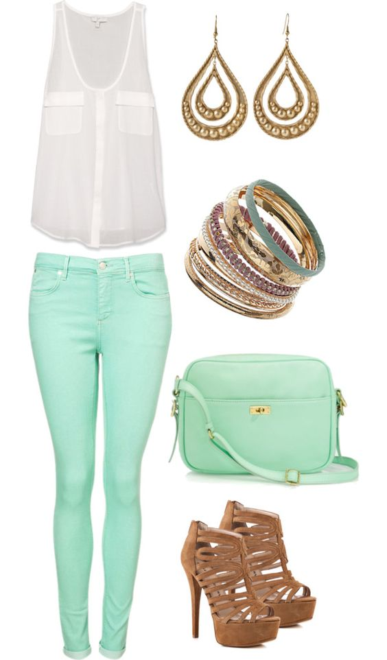 Mint and white: Mint Pants, Mint Skinnie, Mint Green, Dream Closet, Spring Summer, Mint Color, Summer Outfits, Mint Jeans, Spring Outfit