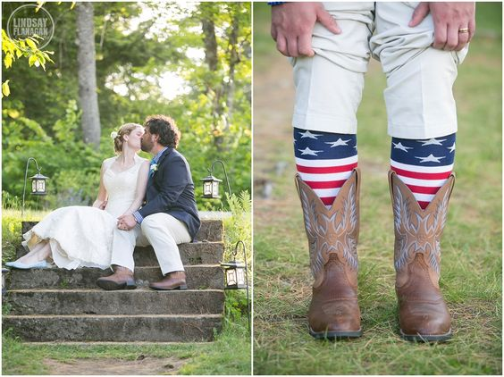 American Flag Grooms Socks and Cowboy Boots and Bride and Groom Portrait - Ohana Camp Lake Fairlee Vermont Wedding