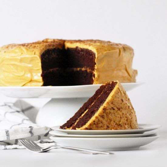 Chocolate cake with dulce de leche cream cheese frosting. For serious dessert lovers only!