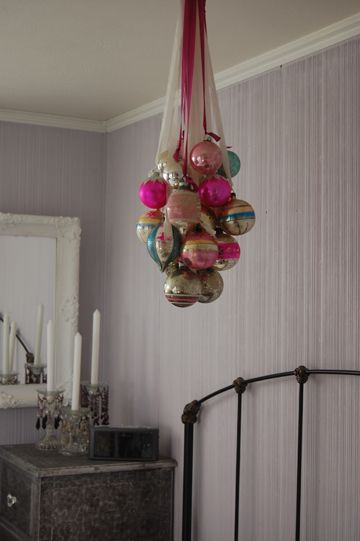 Hang a romantic rainbow of shining christmas ornaments
