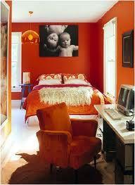 Orange walls orange furniture