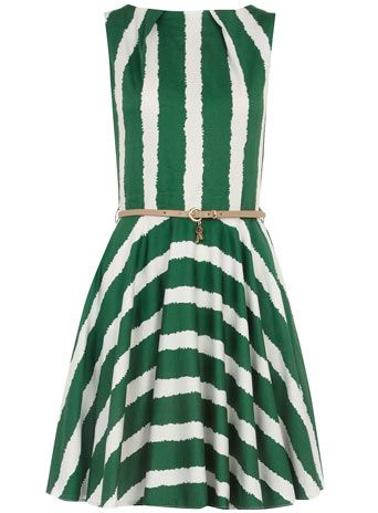Green belted flared dress