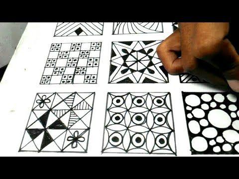 Menggambar 15 Motif Zentangle Kreasi Gambar Youtube Zentangle Zentangle Patterns Merna