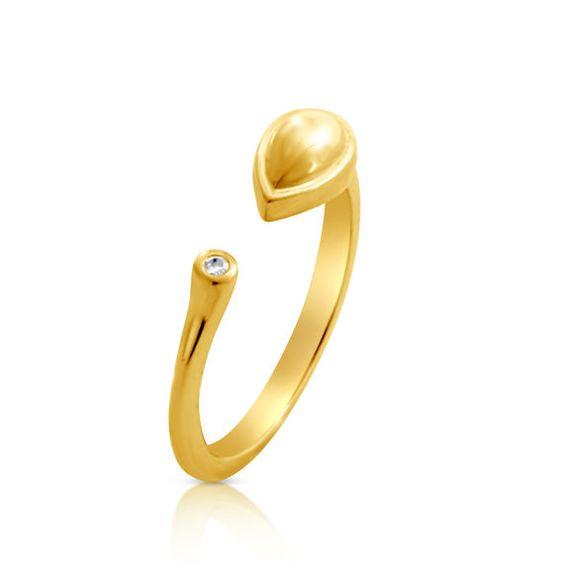 2mm 0.03 ct. tw Diamond Teardrop Resizable Ring 14k Gold by Azaggi