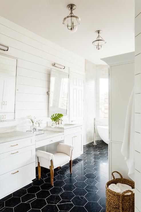 Large Black Floor Tiles Lit By Mini Glass Bell Jar Lanterns Contrast A White Drop Down Makeup V In 2020 Black Tile Bathrooms Black Marble Bathroom Bathroom Floor Tiles