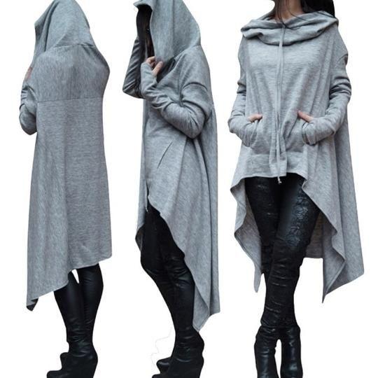 Women Loose Hoodie Long Hooded Tops Ladies Sweatshirt Sweater Asymmetric Blouse