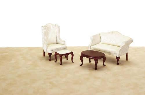 Queen Anne Small Living Room Set W White Fabric 4pc Mary S Dollhouse Miniatures Dollhouse Living Room Furniture Living Room Sets Dollhouse Living Room