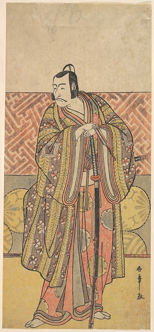 Ichikawa Danjuro V as Kudo Suketsune, Richly Attired, Leaning on His Sword  Katsukawa Shunshô  (Japanese, 1726–1792)  Period: Edo period (1615–1868) Culture: Japan Medium: Polychrome woodblock print; ink and color on paper
