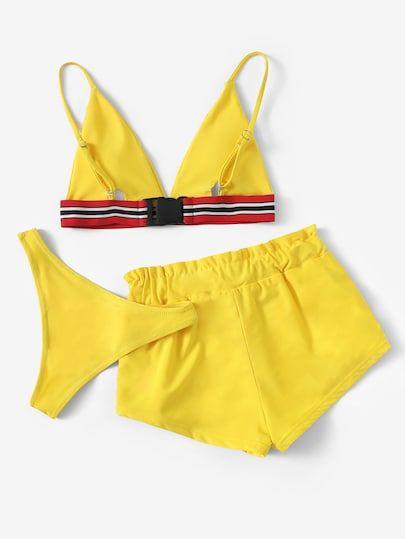 Striped Trim Bikini Set With Shorts 3pack En 2020 Conjuntos De