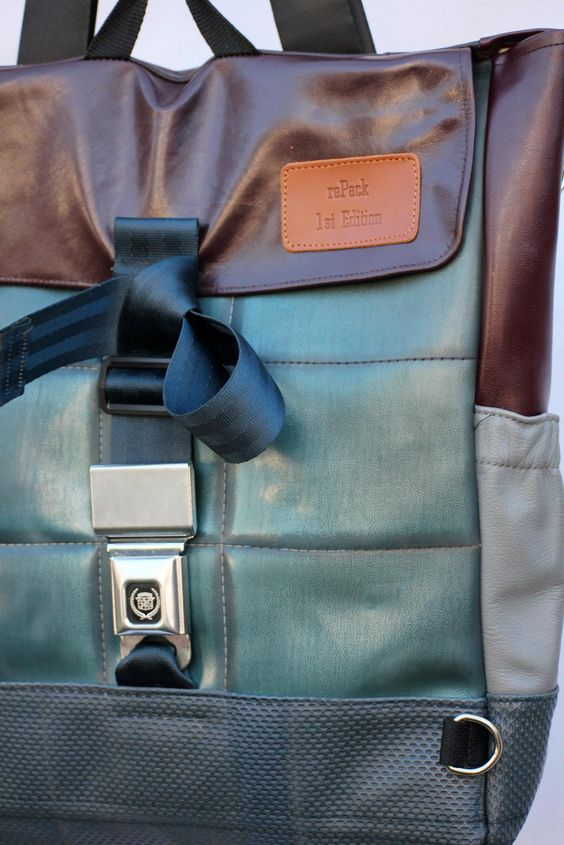 uber cool bags made from recycled car seats and seat belts from rePack (on FB).