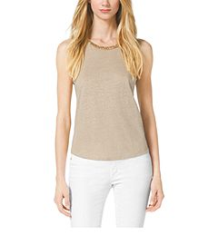 Studded Linen-Blend Top by Michael Kors