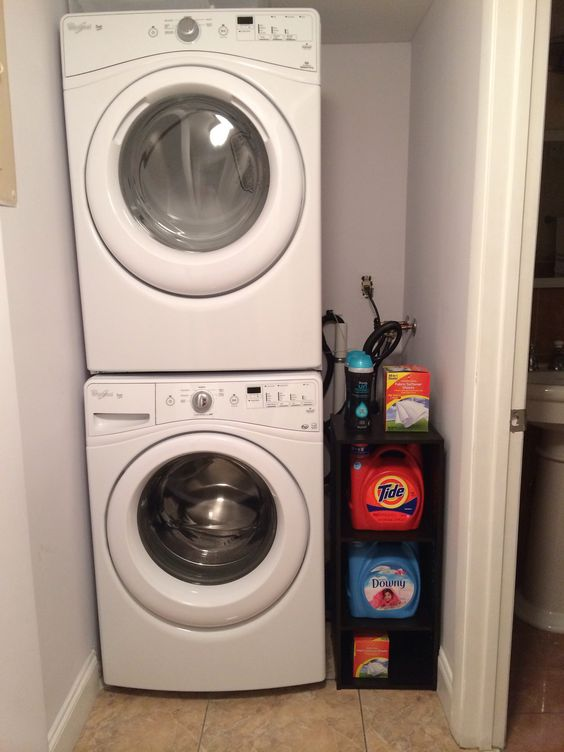 stacked washer and dryer organization for small space in closet for the home pinterest. Black Bedroom Furniture Sets. Home Design Ideas