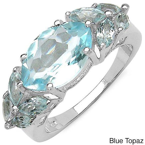 Malaika Sterling Silver Marquise-cut Gemstone Fashion Ring