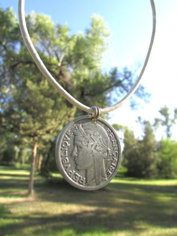 1945 Coin from France  Old Coin Jewelry  Antique by SequoiasRoots