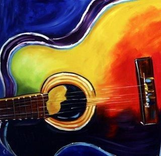 Pastel Paintings With Guitars On Canvas