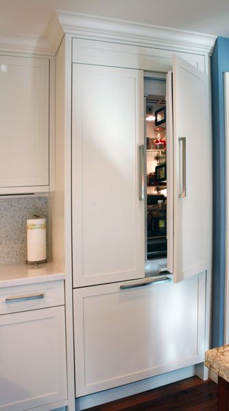 Painted built in refrigerator panels kitchen cabinets for Built in kitchen cabinets