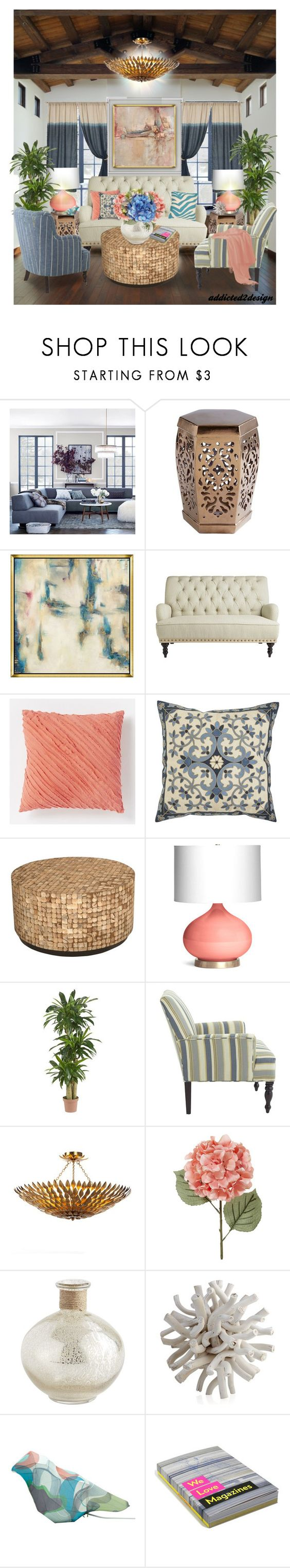 """This is my 2nd Livingroom Set...Pink Panther..."" by addicted2design ❤ liked on Polyvore featuring interior, interiors, interior design, home, home decor, interior decorating, West Elm, Pier 1 Imports, Jeffan and Nearly Natural"