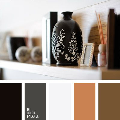 Warm shades of brown to complement the classical combination of vintage black and white with a touch of wet asphalt; This color scheme is suitable for decoration of a spacious study room, library, and will be organic in the men's classic business and casual clothes.