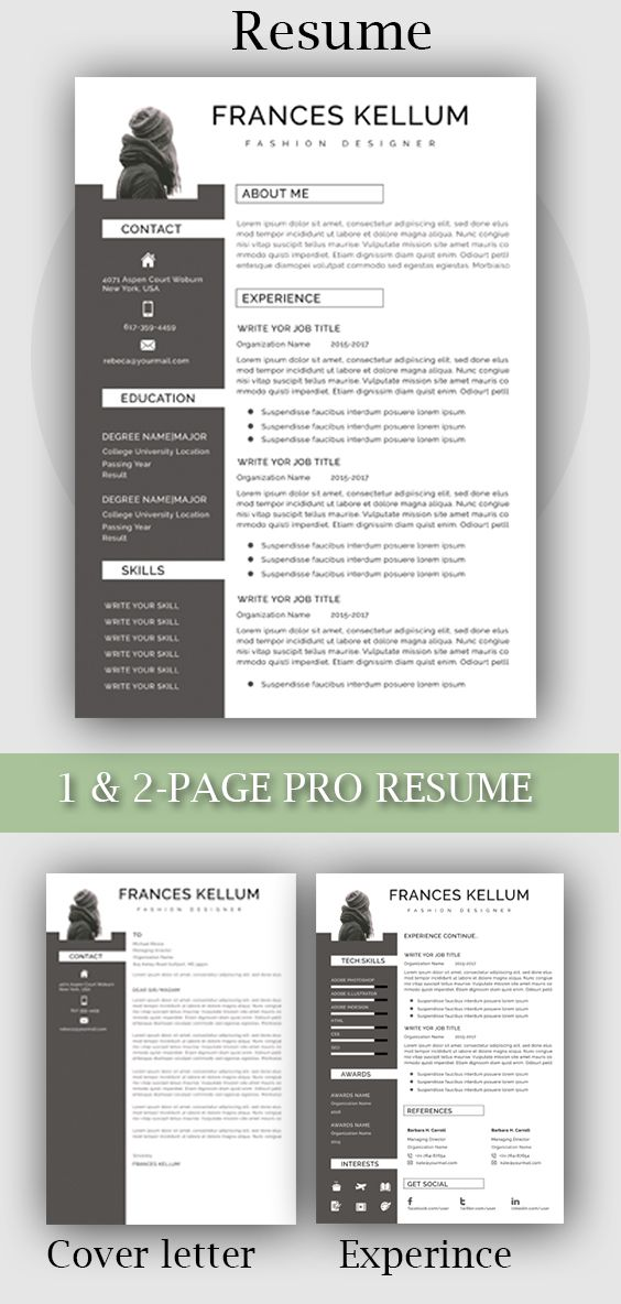 Resume Template Word Professional Resume Template Instant