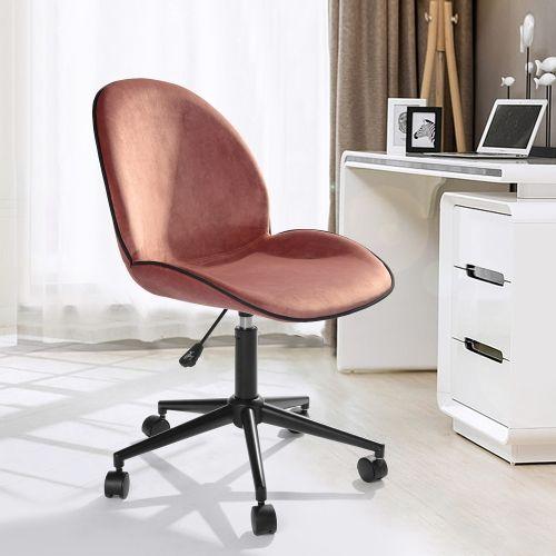 Fabric Velvet Modern Adjustable Desk Chair Home Office Chair Rose
