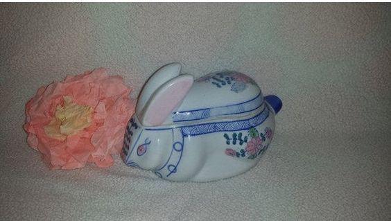 Vintage Porcelain Bunny on a Nest,  Rabbit Trinket Box,  Ceramic Blue & White Rabbit Jewelry Box, Bunny Trinket Box by JunkYardBlonde on Etsy