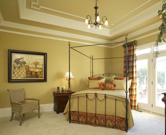 Traditional Master Bedroom With Glass French Doors An