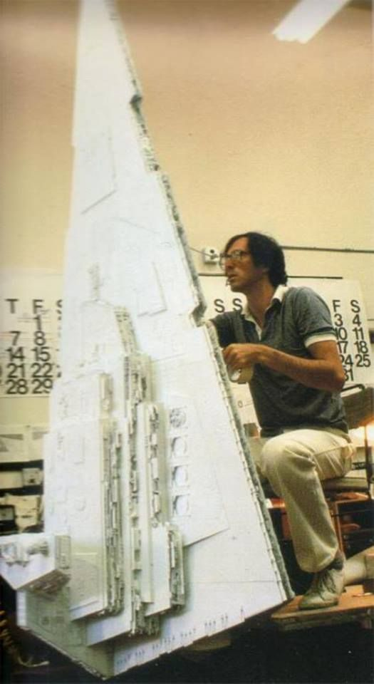 Paul Huston working on a heavily Greeblied Star Destroyer.