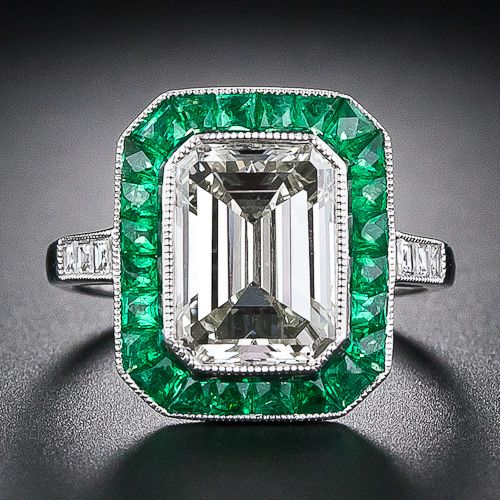 3.00 Carat Emerald Cut Diamond and Emerald Ring ... a girl can dream, right?!