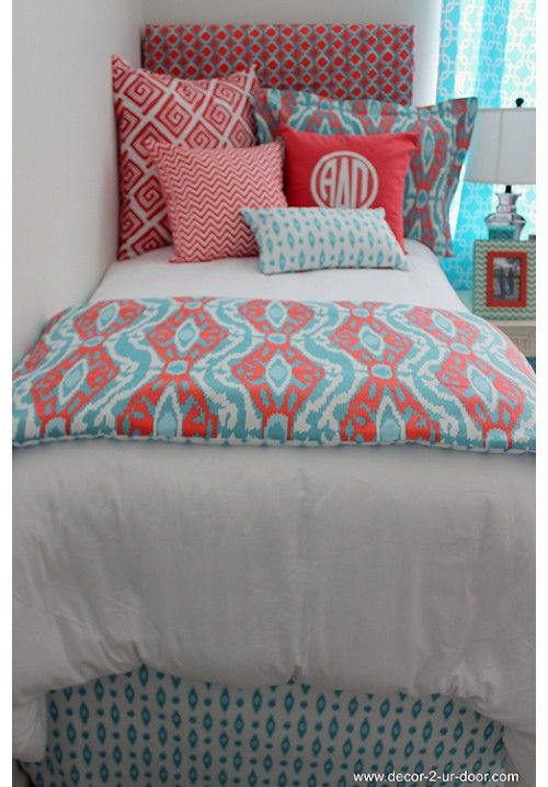 Coral & Aqua Designer Teen & Dorm Bed in a Bag | Teen Girl Dorm Room Bedding www.decor-2-ur-door.com: