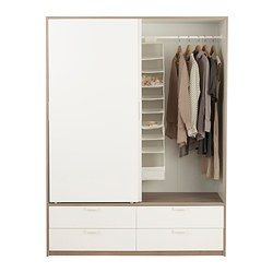 trysil wardrobe w sliding doors 4 drawers white light grey ikea wardrobes pinterest. Black Bedroom Furniture Sets. Home Design Ideas