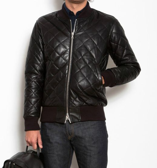 Mens brown quilted leather jacket – Modern fashion jacket photo blog
