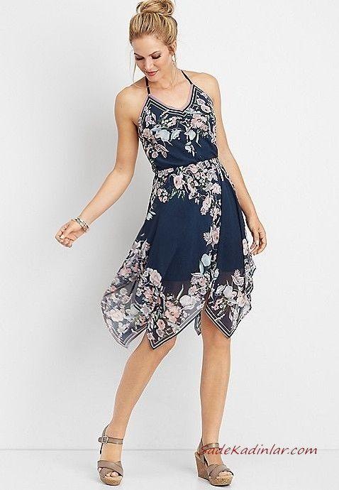 Yazlik Elbise Modelleri Lacivert Kisa Ip Askili V Yakali Desenli Gri Dolgu Topuk Ayakkabi The Dress Elbise Elbiseler
