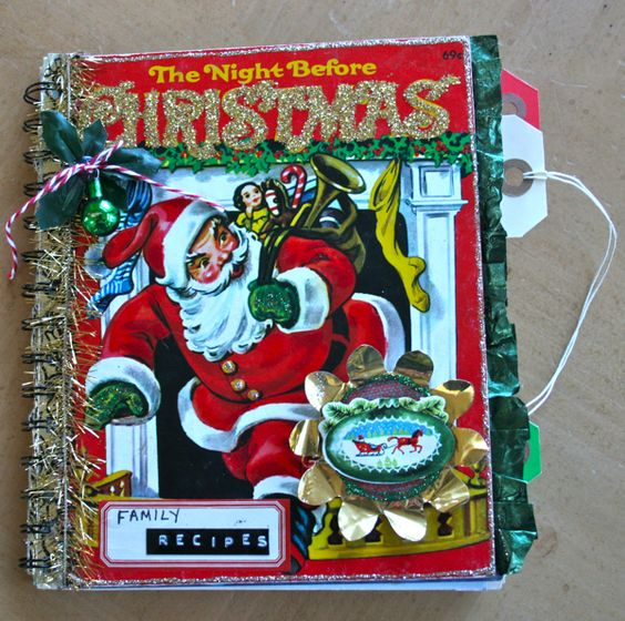 Altered Vintage Christmas Book turned Recipe or Scrapbook - LOVE IT!