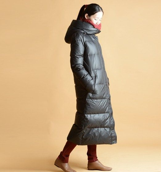 Long Women Winter Down Coat Thick Hoodied Goose Down Coat Side