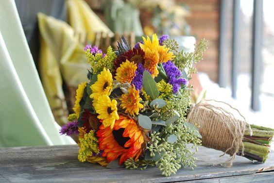 Fall bridal bouquet, sunflowers, mums, burlap stem wrap